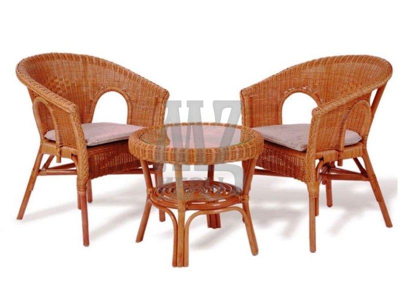 Комплект для терассы 02/08 эл (элит ротанг) - столы, стулья.